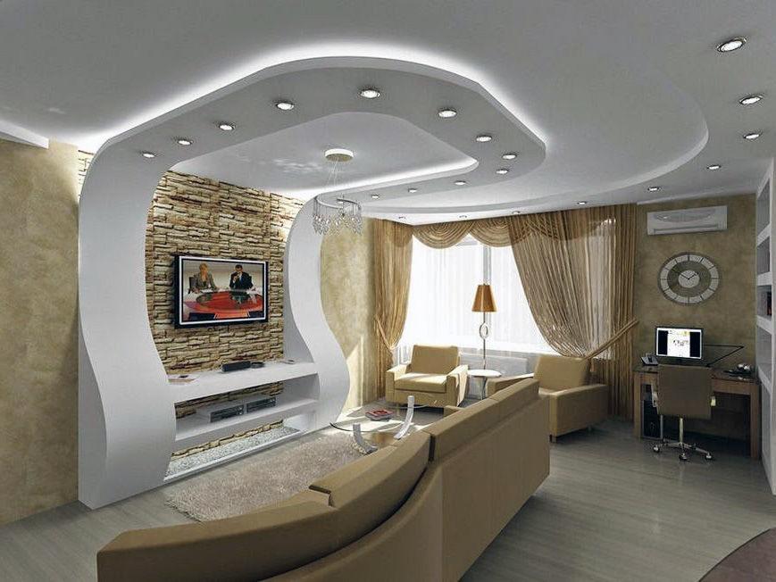 многоуровневые потолки из гипсокартона фото в зале египта одну